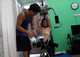 Ricky Tickles Argies Feet On The Gym
